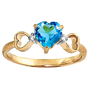 Blue Topaz & Diamond Trinity Ring in 18ct Gold