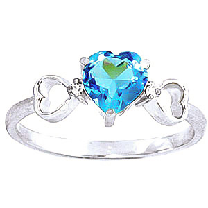 Blue Topaz & Diamond Trinity Ring in Sterling Silver