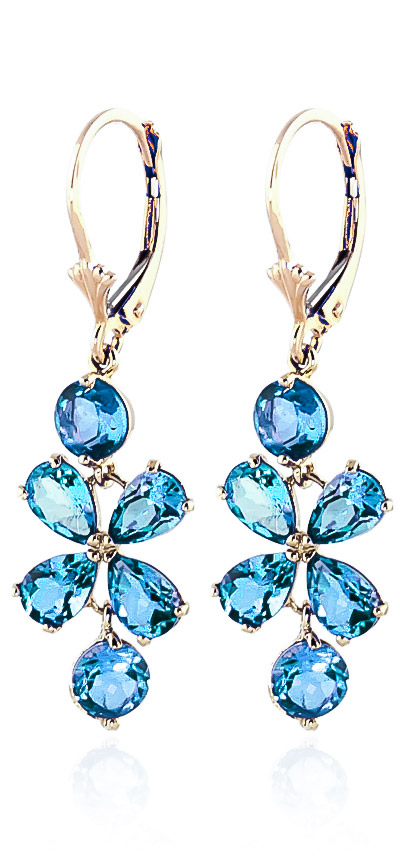 Blue Topaz Blossom Drop Earrings 5.32 ctw in 9ct Gold