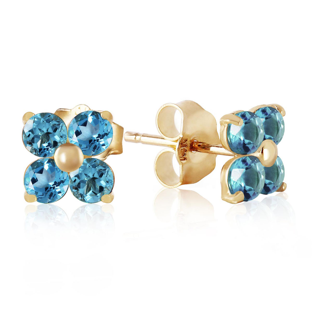 Blue Topaz Clover Stud Earrings 1.15 ctw in 9ct Gold