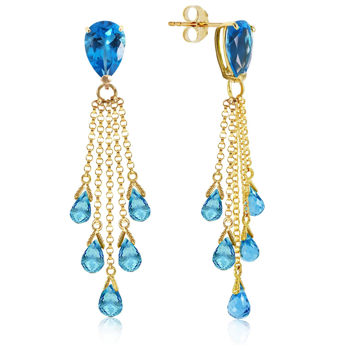 Blue Topaz Comet Tail Drop Earrings 15.5 ctw in 9ct Gold