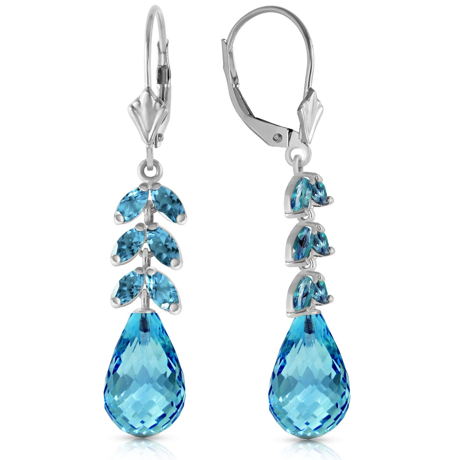 Blue Topaz Drop Earrings 11.2 ctw in 9ct White Gold