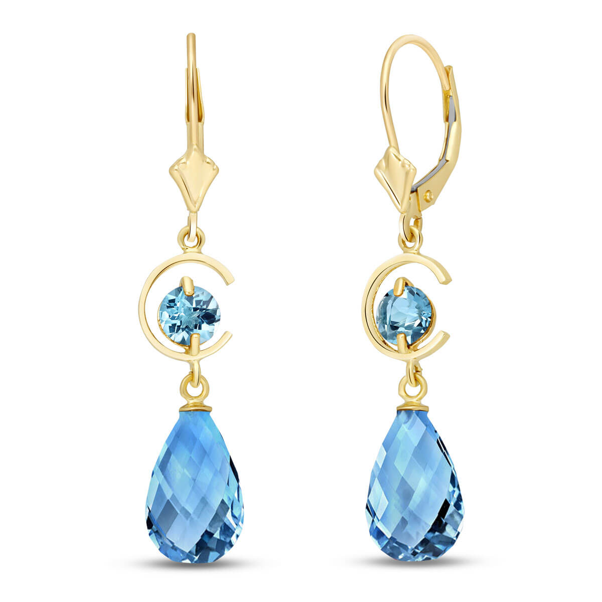 Blue Topaz Drop Earrings 11 ctw in 9ct Gold