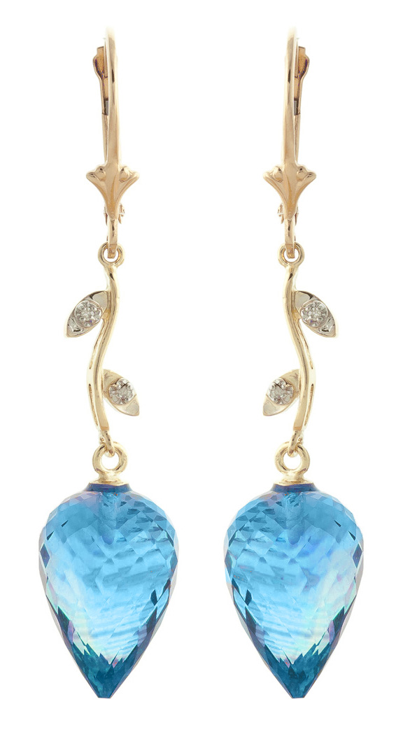Blue Topaz Drop Earrings 22.52 ctw in 9ct Gold