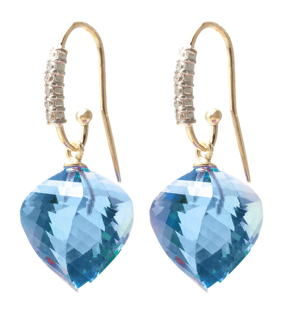 Blue Topaz Drop Earrings 27.98 ctw in 9ct Gold
