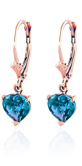 Blue Topaz Drop Earrings 3.25 ctw in 9ct Rose Gold