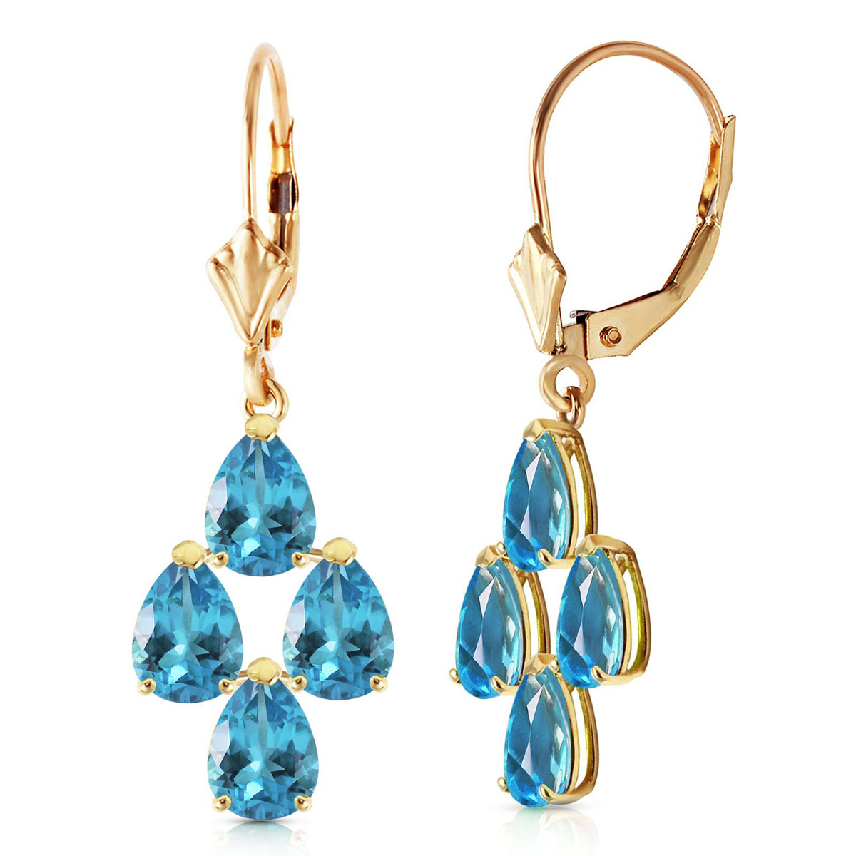 Blue Topaz Drop Earrings 4.5 ctw in 9ct Gold