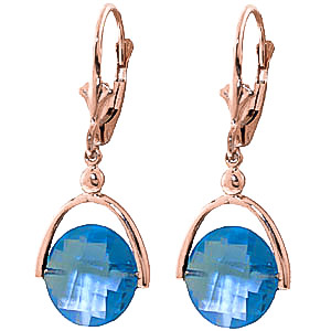 Blue Topaz Drop Earrings 6.5 ctw in 9ct Rose Gold