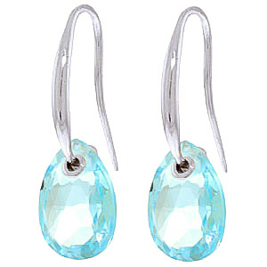 Blue Topaz Droplet Earrings 8 ctw in 9ct White Gold