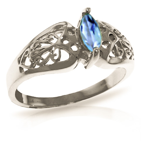 Blue Topaz Filigree Ring 0.2 ct in 18ct White Gold