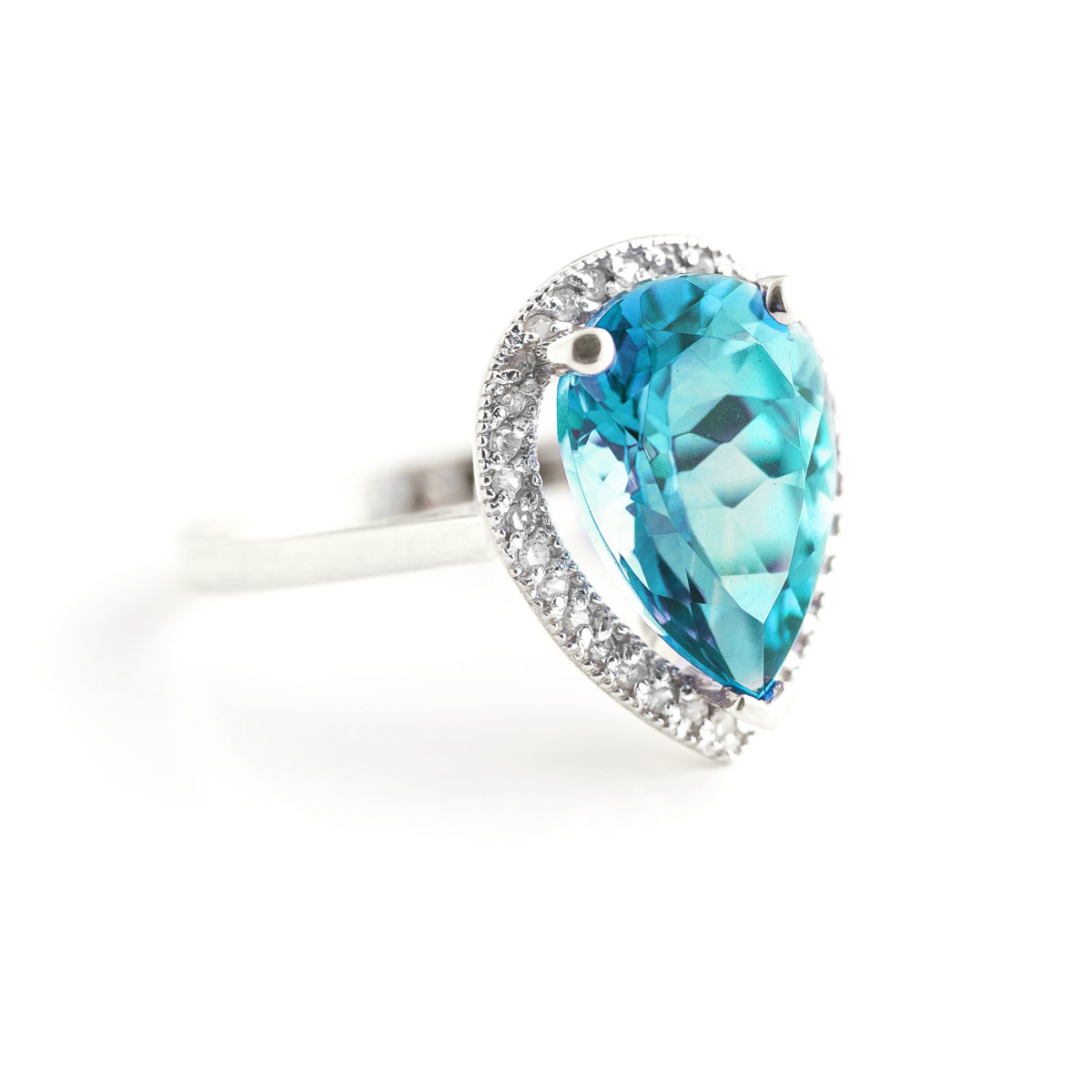 Blue Topaz Halo Ring 4.66 ctw in 18ct White Gold