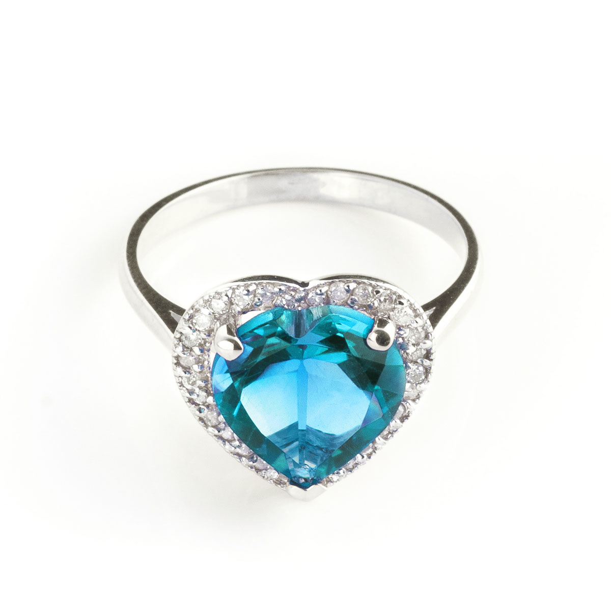 Blue Topaz Halo Ring 6.44 ctw in 9ct White Gold