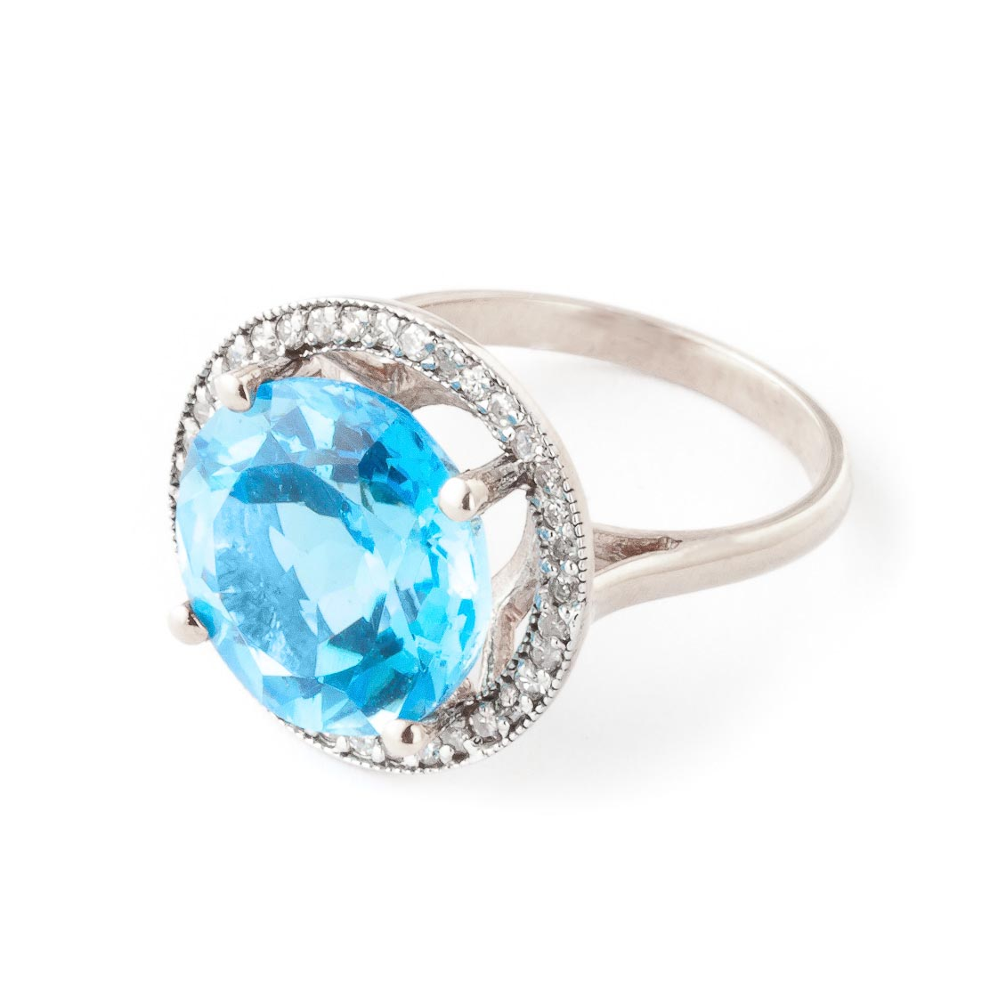 Blue Topaz Halo Ring 8 ctw in 9ct White Gold