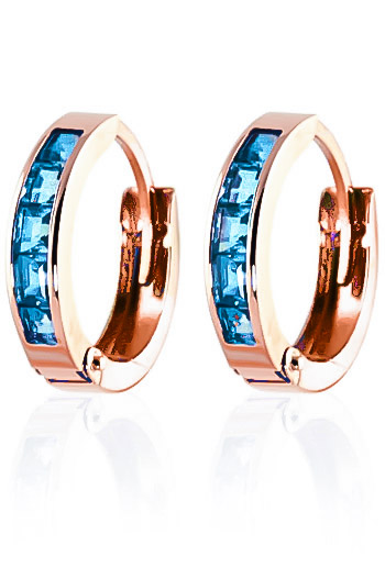 Blue Topaz Huggie Earrings 1.2 ctw in 9ct Rose Gold