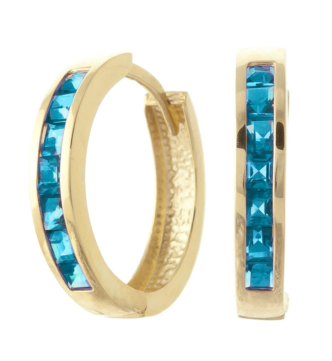 Blue Topaz Huggie Earrings 1.85 ctw in 9ct Gold