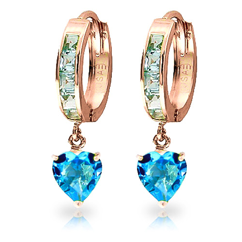 Blue Topaz Huggie Earrings 4.1 ctw in 9ct Rose Gold