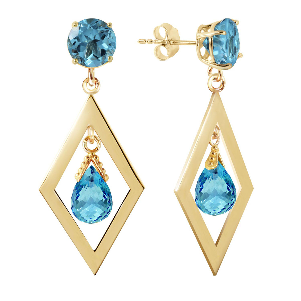 Blue Topaz Kite Drop Earrings 2.4 ctw in 9ct Gold
