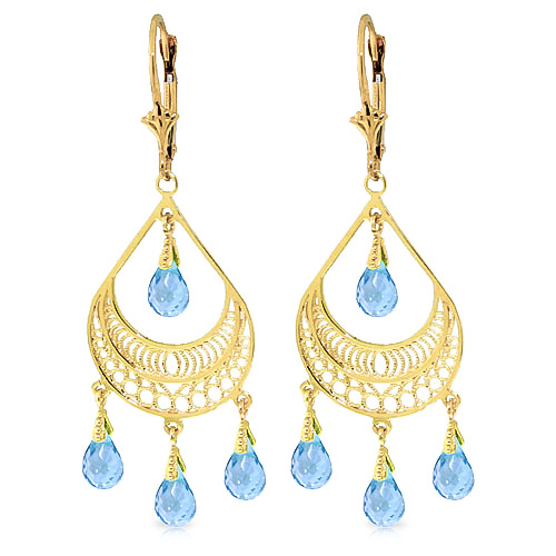 Blue Topaz Mirage Drop Earrings 6.75 ctw in 9ct Gold