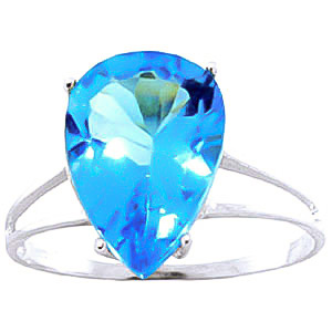 Blue Topaz Pear Drop Ring 5 ct in 9ct White Gold