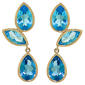 Blue Topaz Petal Drop Earrings 13 ctw in 9ct Gold