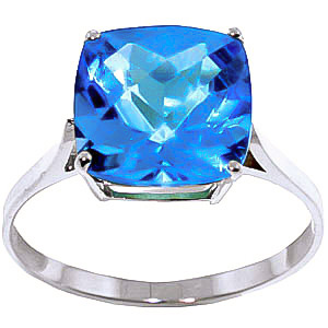 Blue Topaz Rococo Ring 3.6 ct in 9ct White Gold