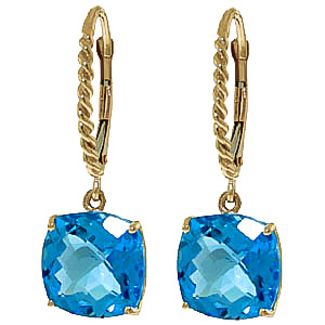 Blue Topaz Rococo Twist Drop Earrings 7.2 ctw in 9ct Gold