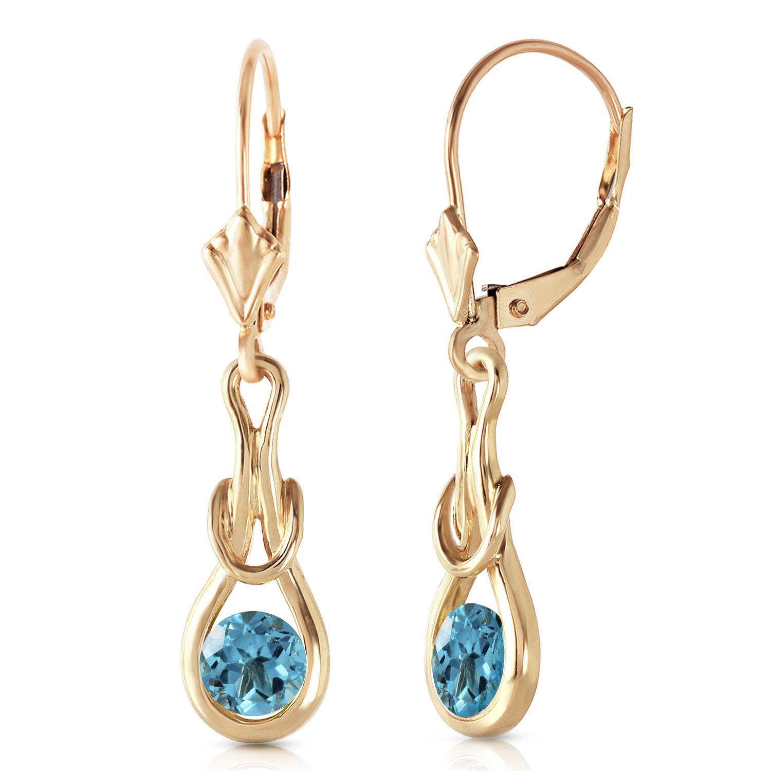 Blue Topaz San Francisco Drop Earrings 1.3 ctw in 9ct Gold