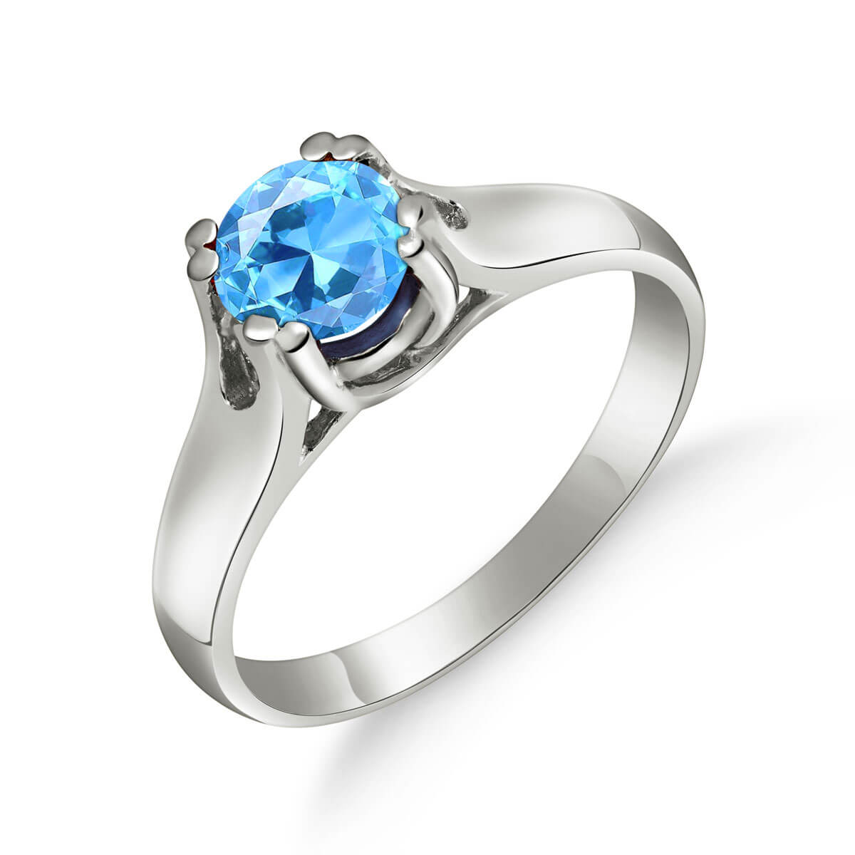 Blue Topaz Solitaire Ring 1.1 ct in 18ct White Gold
