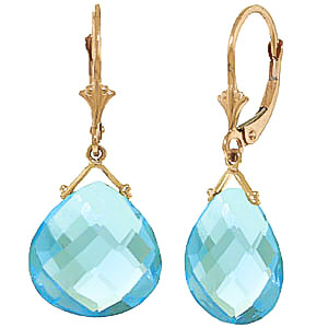 Blue Topaz Star Drop Earrings 17 ctw in 9ct Gold