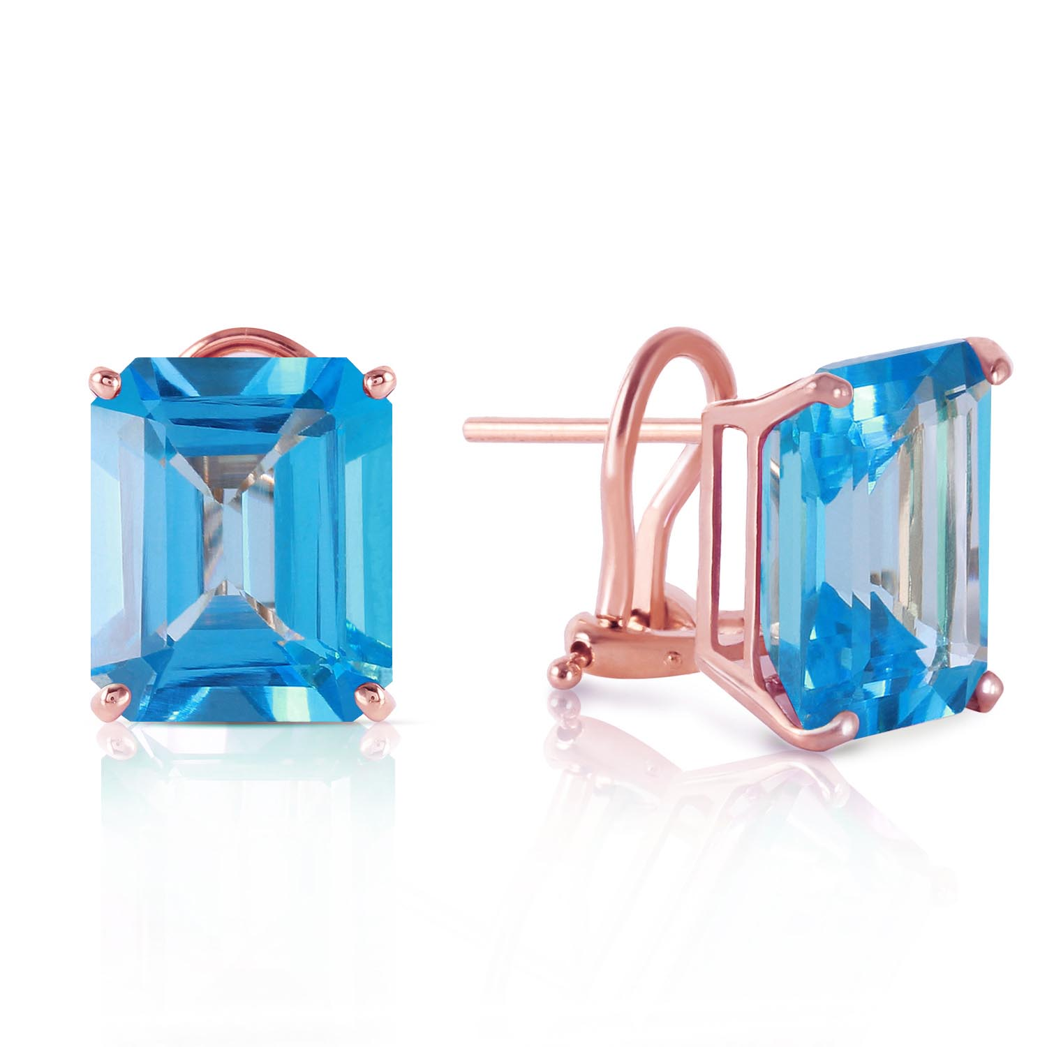 Blue Topaz Stud Earrings 14 ctw in 9ct Rose Gold
