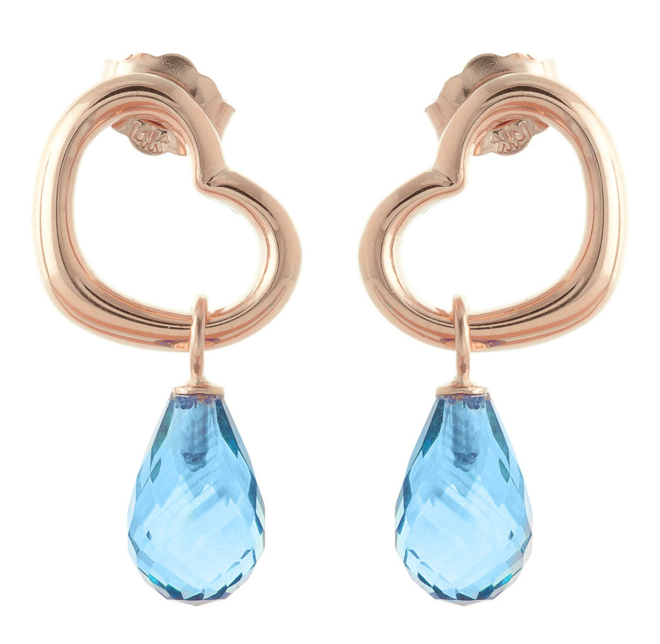 Blue Topaz Stud Earrings 4.5 ctw in 9ct Rose Gold