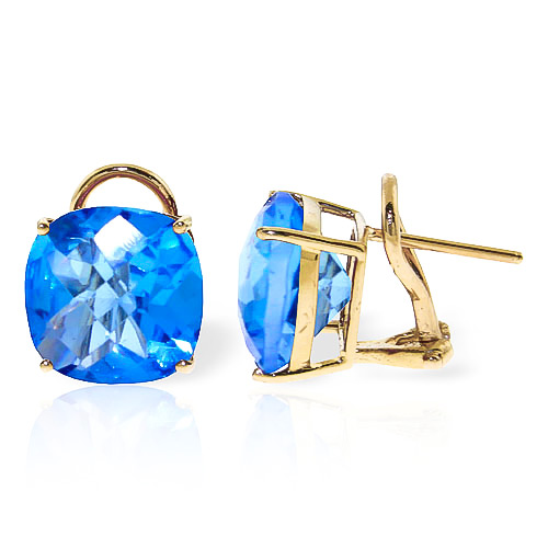 Blue Topaz Stud Earrings 7.2 ctw in 9ct Gold