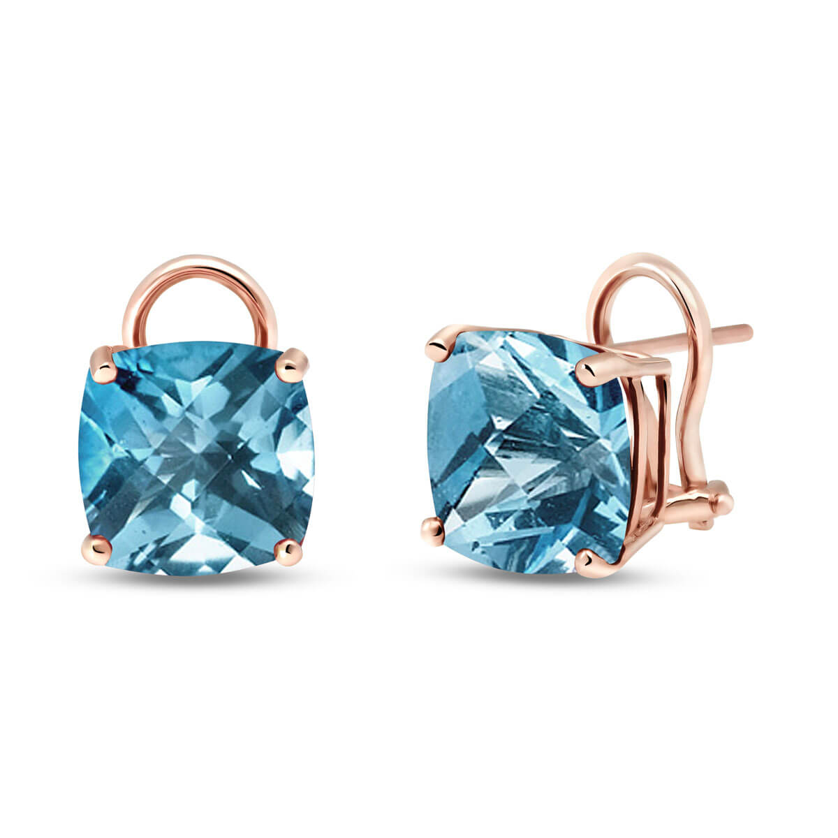Blue Topaz Stud Earrings 7.2 ctw in 9ct Rose Gold