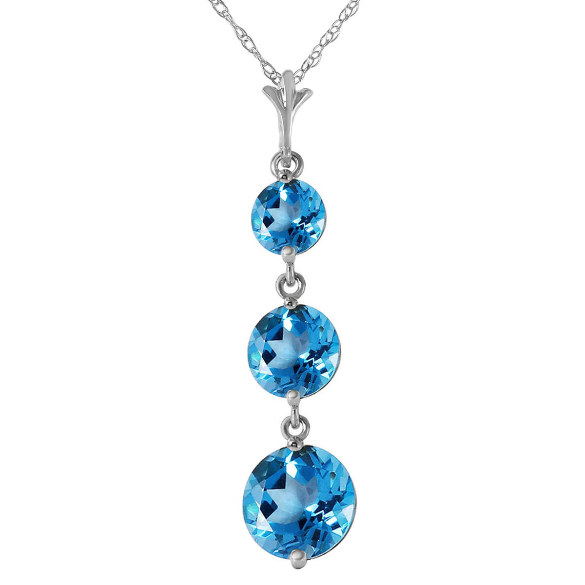Blue Topaz Trinity Pendant Necklace 3.6 ctw in 9ct White Gold