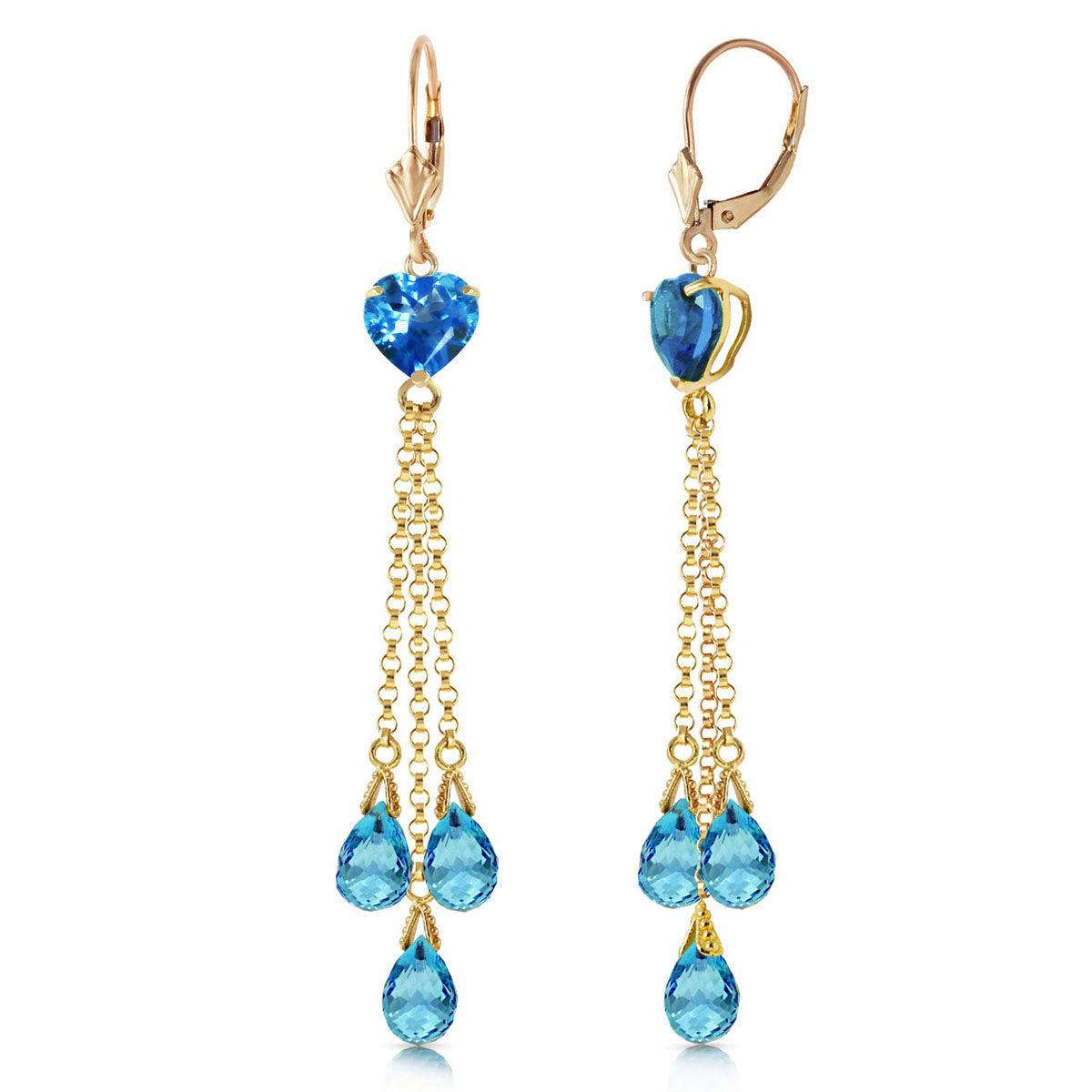 Blue Topaz Vestige Drop Earrings 9.5 ctw in 9ct Gold