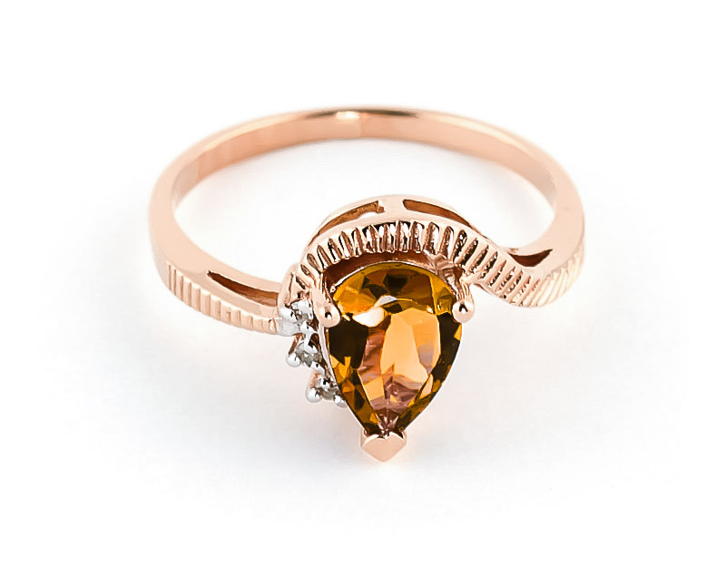 Citrine & Diamond Belle Ring in 9ct Rose Gold