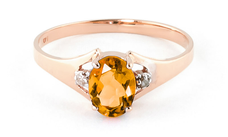 Citrine & Diamond Desire Ring in 18ct Rose Gold