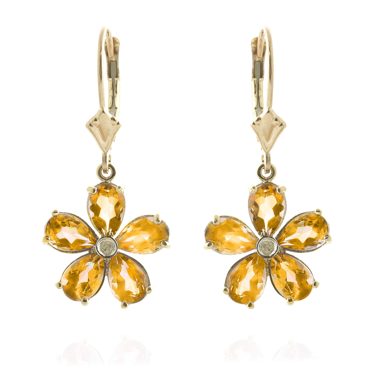 Citrine & Diamond Flower Petal Drop Earrings in 9ct Gold