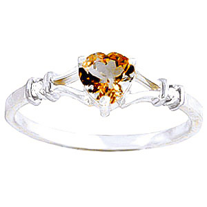 Citrine & Diamond Heart Ring in Sterling Silver