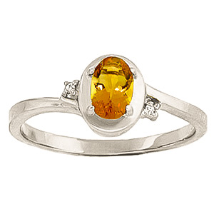 Citrine & Diamond Meridian Ring in 9ct White Gold