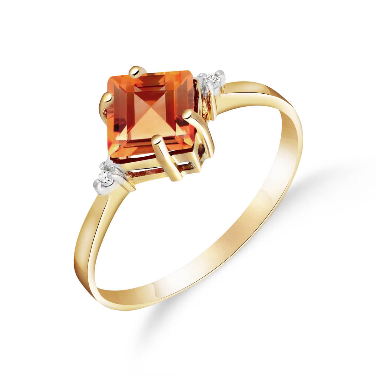 Citrine & Diamond Princess Ring in 18ct Gold