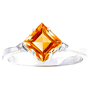 Citrine & Diamond Princess Ring in 18ct White Gold