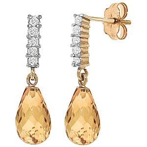 Citrine & Diamond Stem Droplet Earrings in 9ct Gold