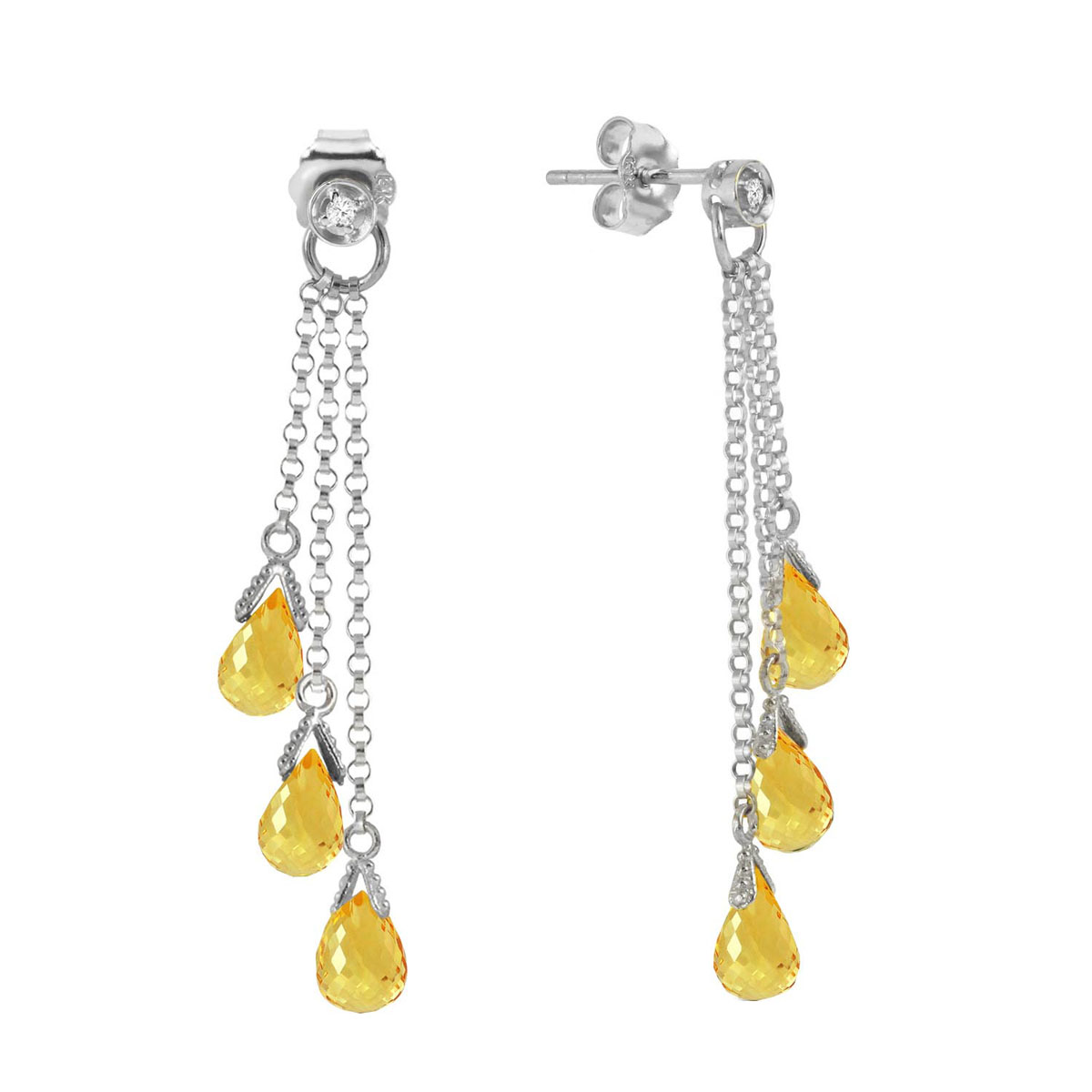 Citrine & Diamond Trilogy Droplet Earrings in 9ct White Gold