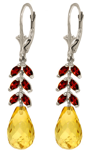 Citrine & Garnet Drop Earrings in 9ct White Gold