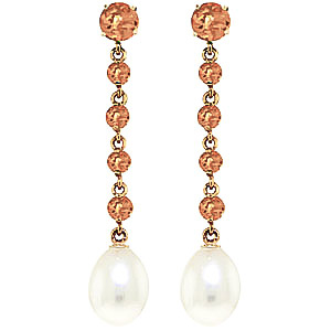 Citrine & Pearl by the Yard Drop Earrings in 9ct Gold