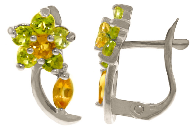 Image of  			   			  			   			  Citrine & Peridot Flower Stud Earrings in 9ct White Gold