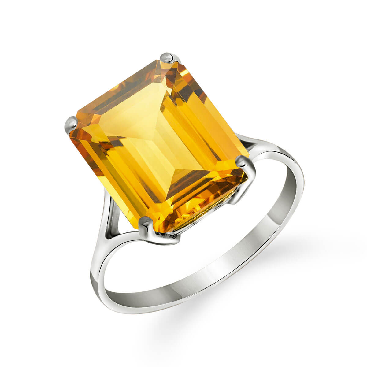 Citrine Auroral Ring 6.5 ct in 18ct White Gold