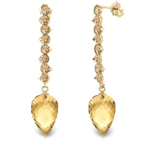 Citrine Briolette Drop Earrings 22.1 ctw in 9ct Gold