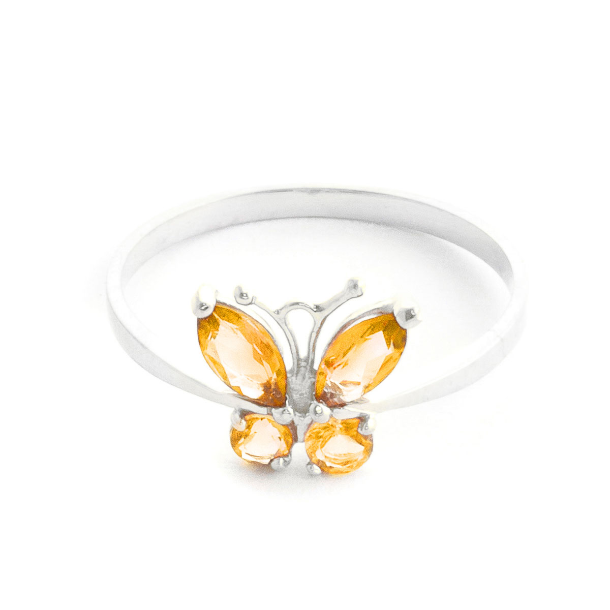 Citrine Butterfly Ring 0.6 ctw in 9ct White Gold